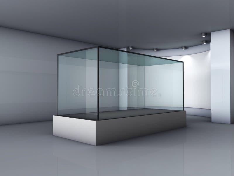 3d与聚光灯的玻璃陈列室和适当位置 向量例证