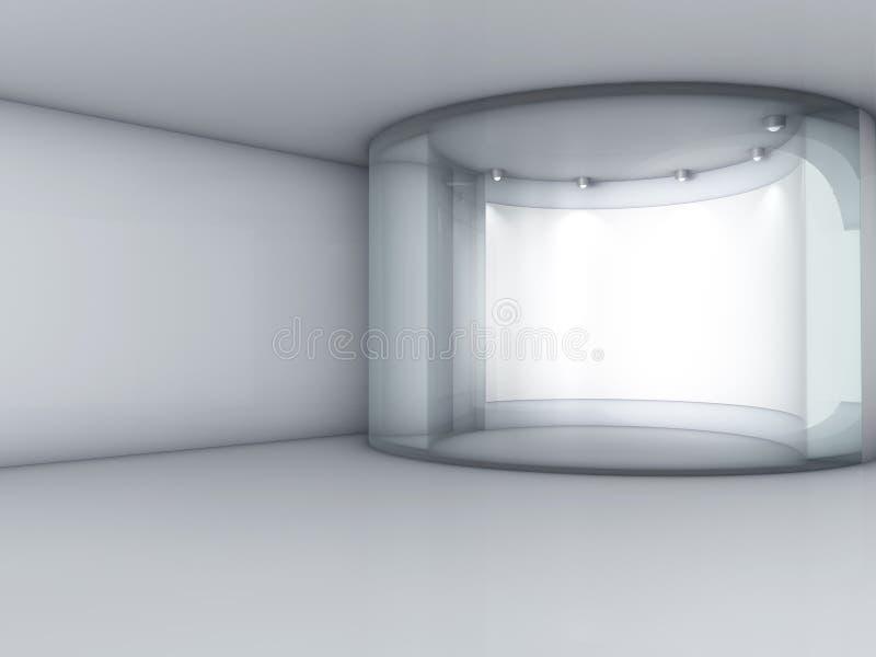3d与聚光灯的玻璃陈列室和适当位置 皇族释放例证