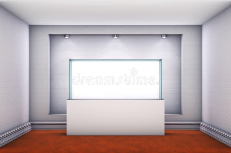 3d与聚光灯的玻璃陈列室和适当位置 库存例证