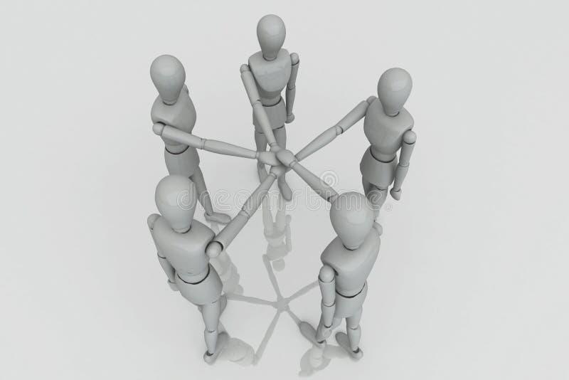 3d乘员组回报小组工作 向量例证