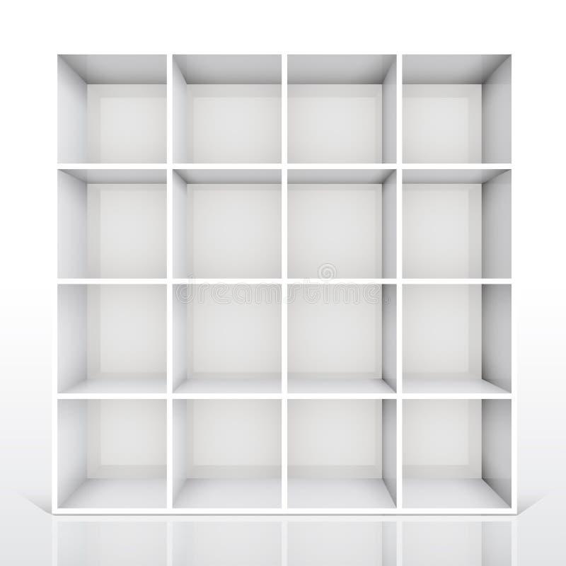 3d书架空的查出的白色 库存例证