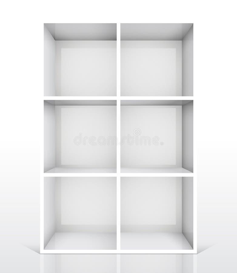 3d书架空的查出的白色 皇族释放例证