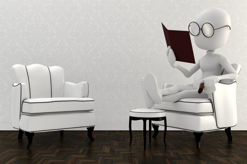 3d书椅子人读取休息 库存例证