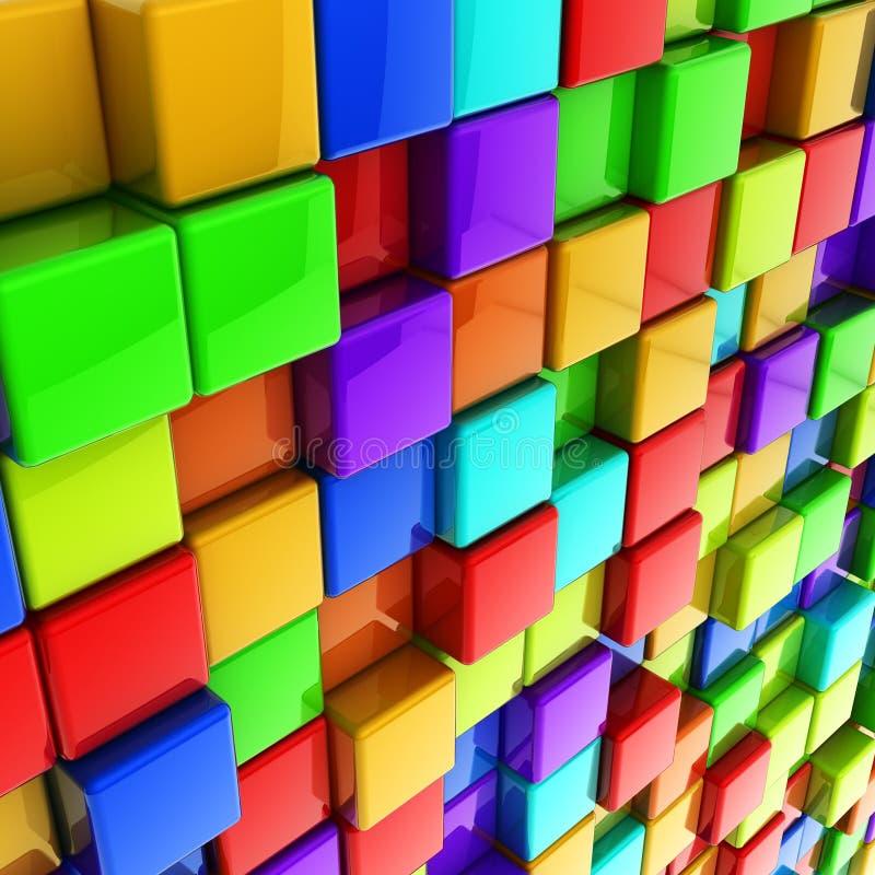 3d五颜六色的多维数据集光滑的墙壁 皇族释放例证