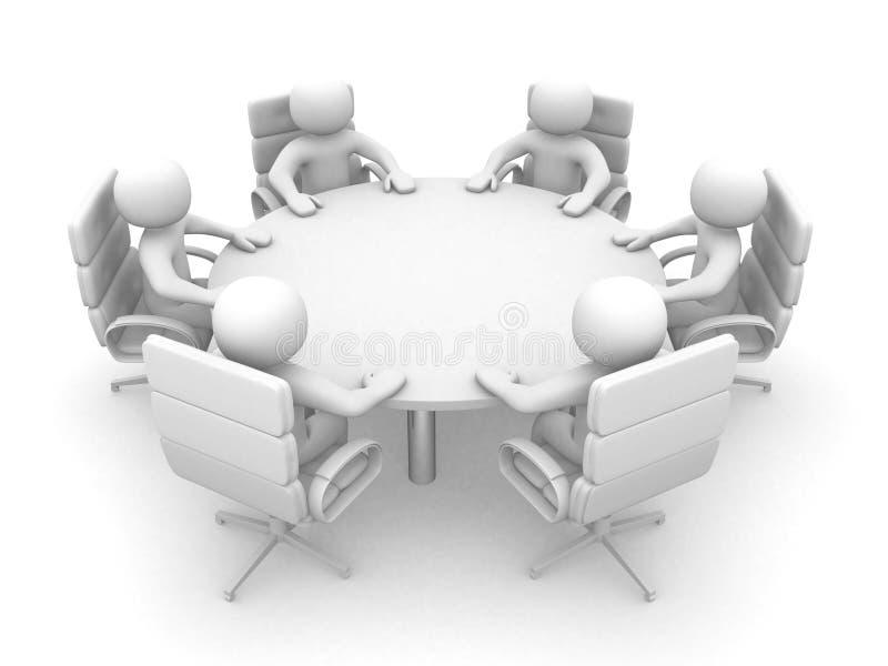 3d人员在与就座商业的会议桌 库存照片