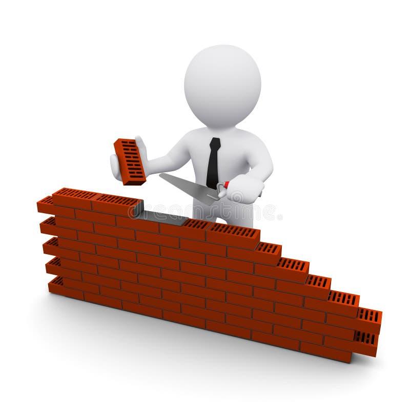 3D人和砖墙 向量例证