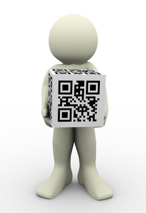 3d人和qr编码(矩阵条形码) 向量例证