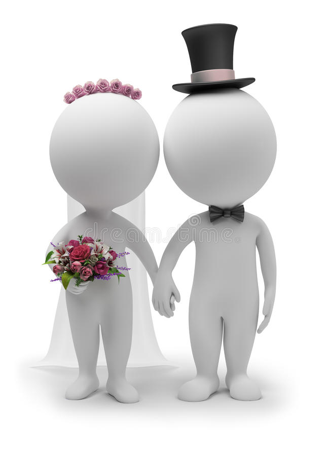 3d人小的婚礼 库存例证