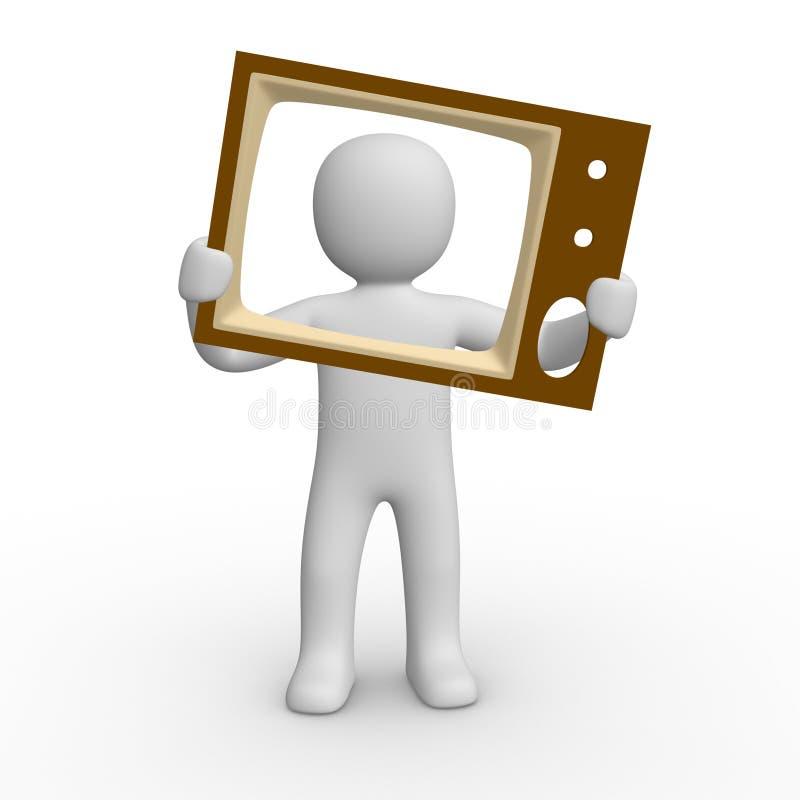 3d人屏幕电视 向量例证
