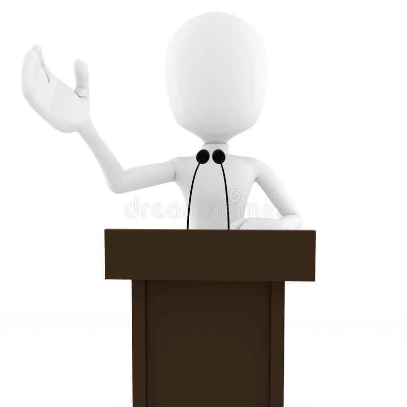 3d人指挥台演讲白色 向量例证