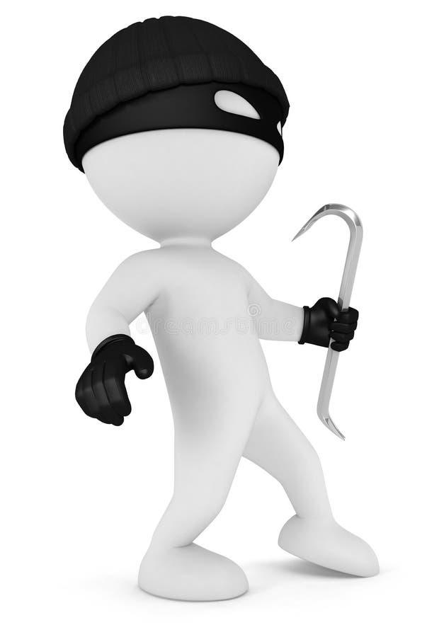 3d人窃贼白色 皇族释放例证