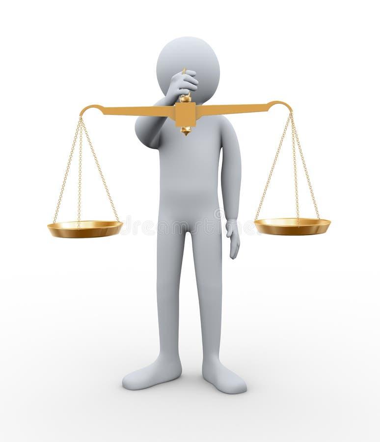 3d人藏品平衡缩放比例 向量例证