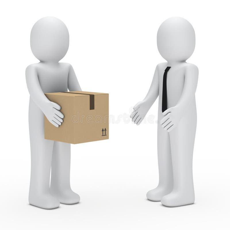 3d人装箱商业 向量例证