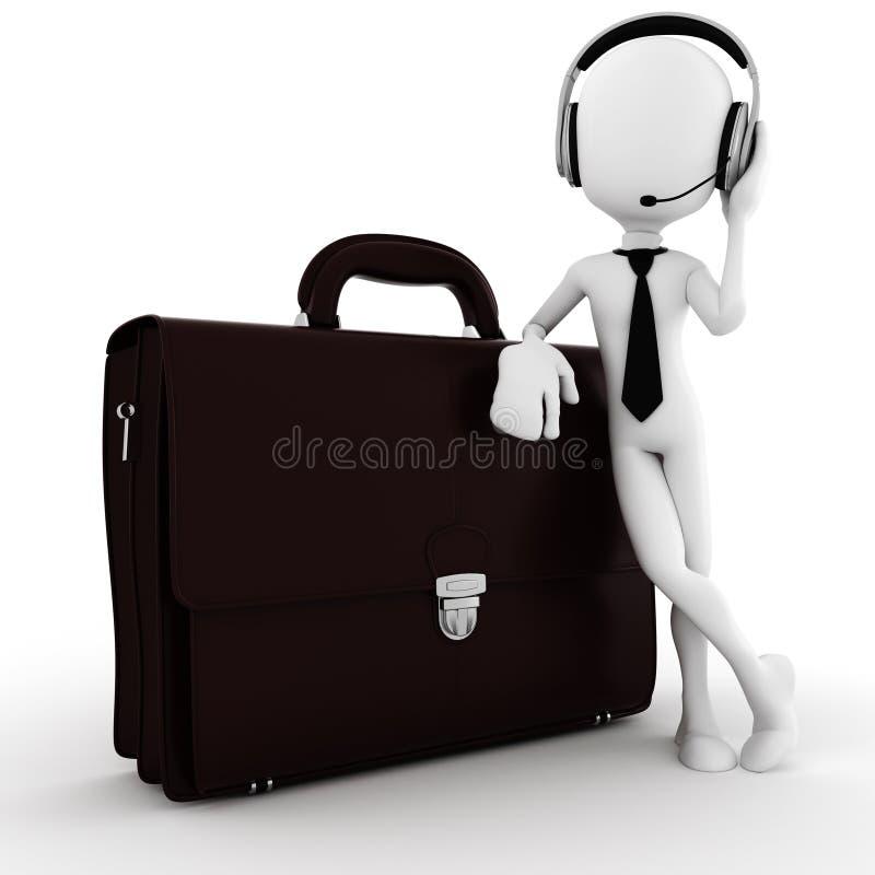 3d人,带着一个大手提箱的商人 皇族释放例证