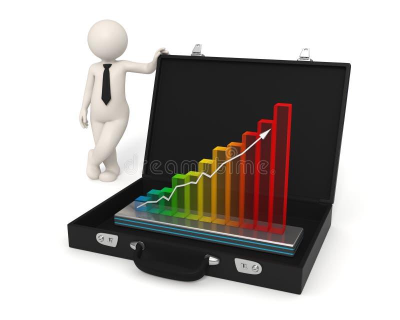 3d企业增长全息图人介绍 向量例证