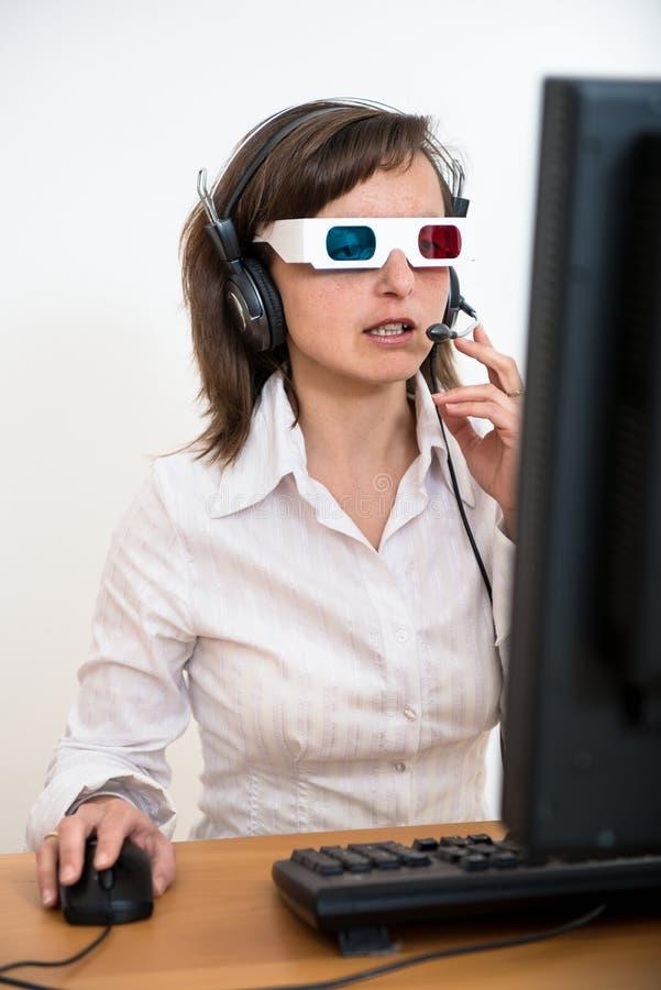 3d企业玻璃办公室人员工作 免版税库存图片