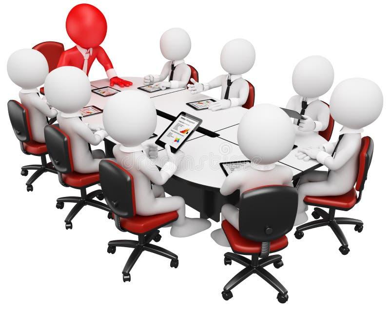 3D企业白色人。 业务会议 库存例证