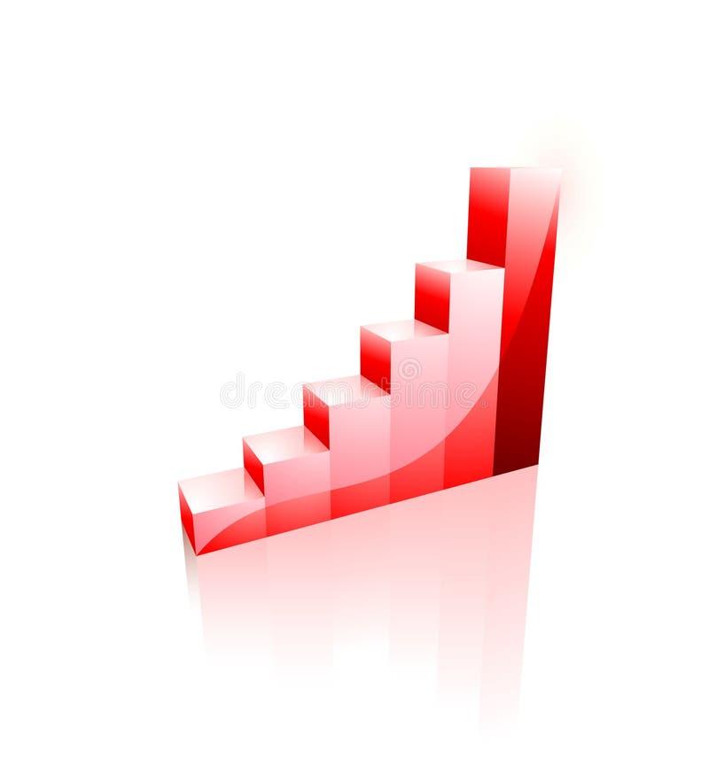 3d企业绘制图形增长图标 皇族释放例证