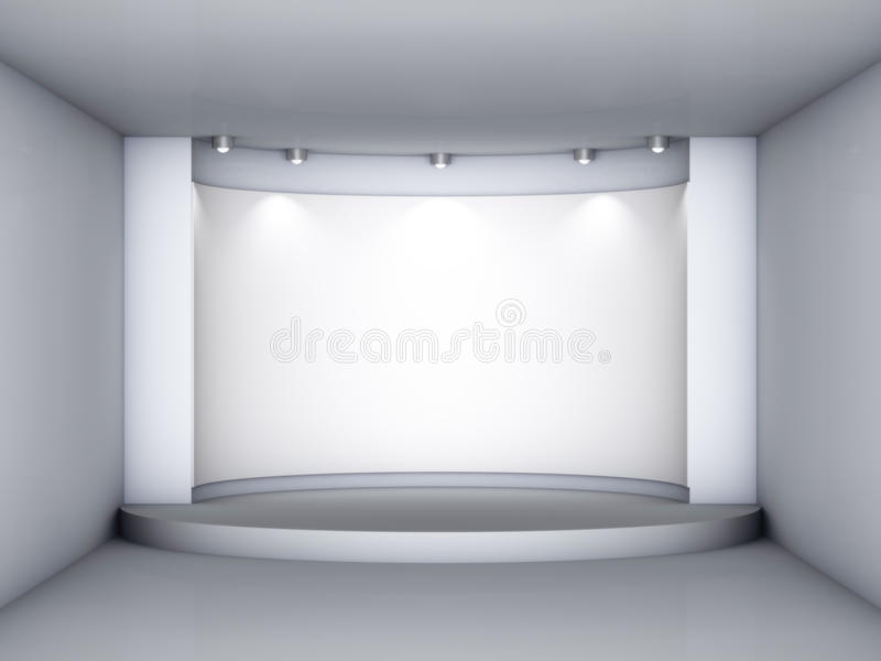 3d倒空与指挥台和聚光灯的适当位置 皇族释放例证