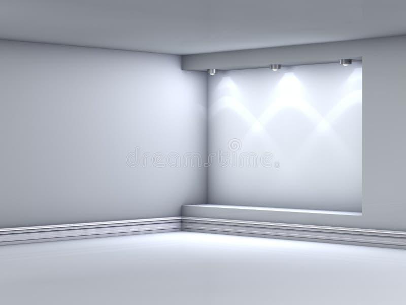3d倒空与聚光灯的适当位置展览的 皇族释放例证