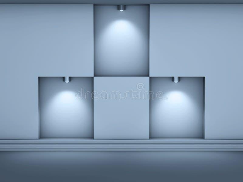 3d倒空与聚光灯的适当位置展览的 库存例证