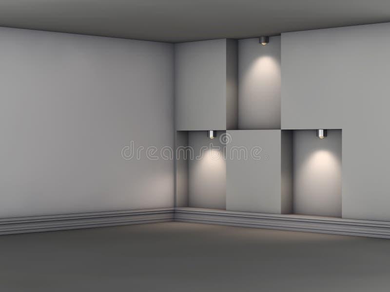 3d倒空与聚光灯的适当位置展览的 向量例证