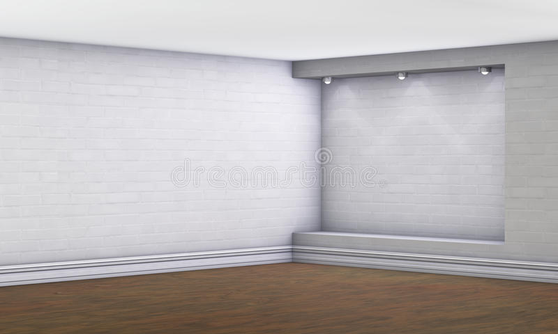 3d倒空与聚光灯的适当位置 库存例证