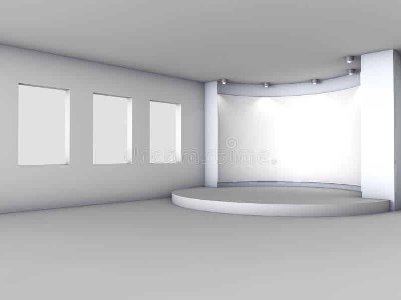 3d倒空与配件箱和聚光灯的适当位置 向量例证