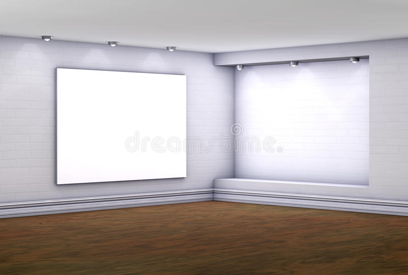 3d倒空与lightbox的适当位置展览的 库存例证