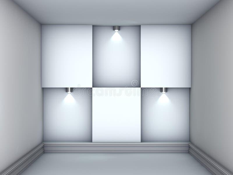 3d倒空展览适当位置聚光灯 库存例证