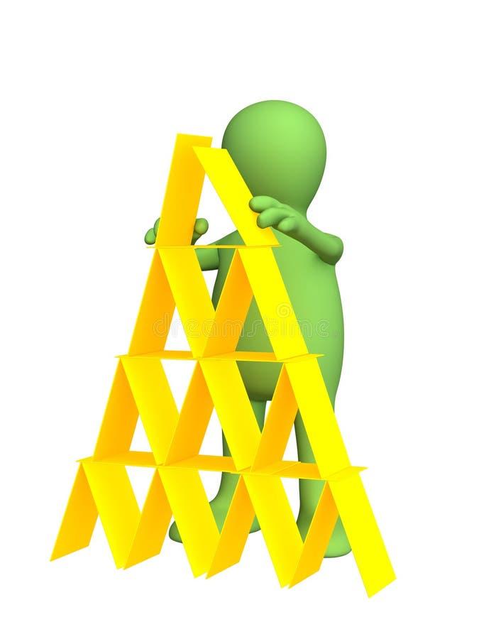 3d做塑料木偶金字塔的看板卡 皇族释放例证