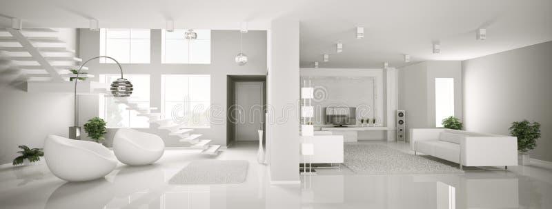 3d公寓内部全景白色 库存例证
