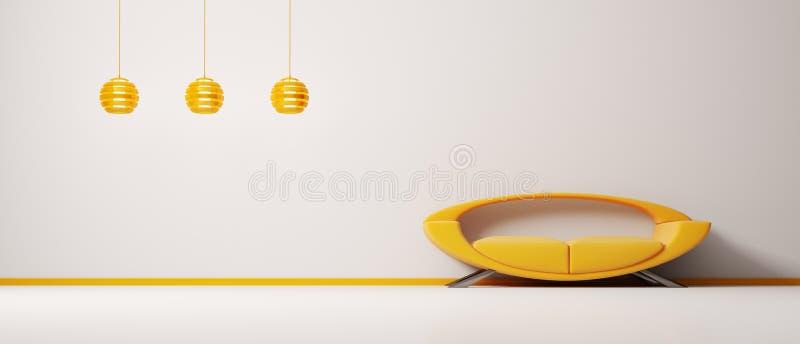 3d内部橙色沙发 库存例证