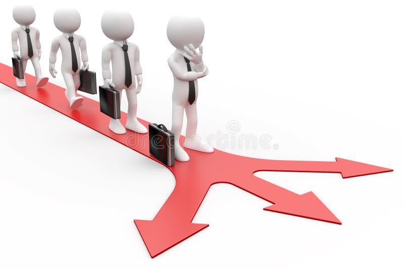 3d决定的方向人排队了采取对哪些 库存例证