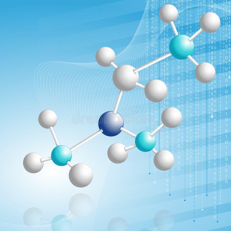 3d分子的抽象模型 皇族释放例证