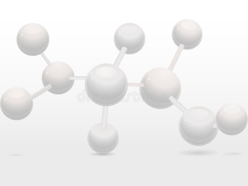 3d分子结构白色 皇族释放例证