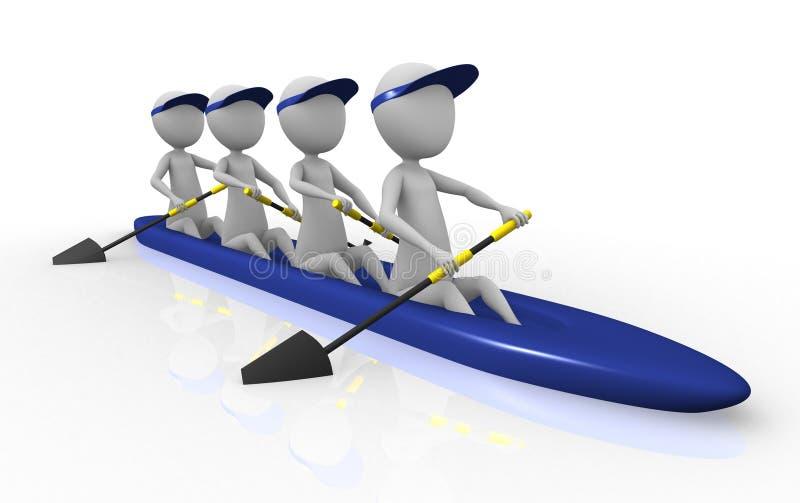 3d划船小组 向量例证