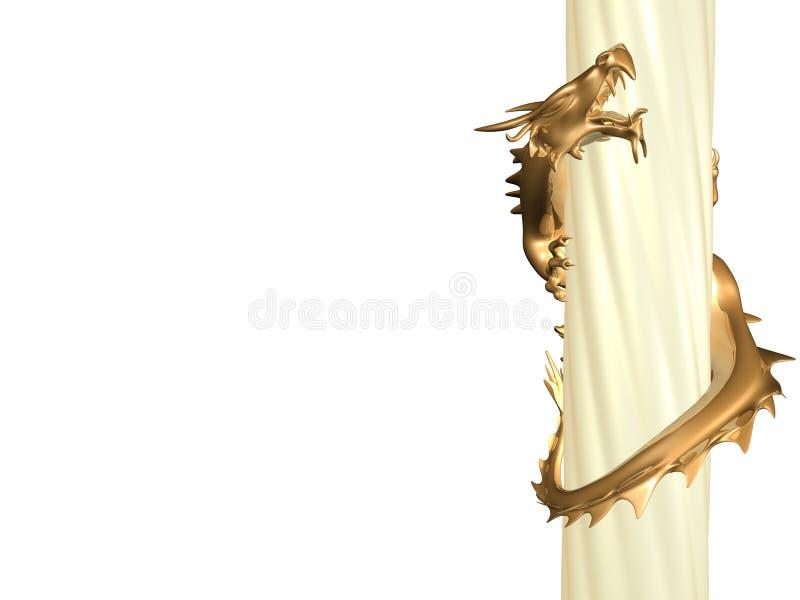 3d列龙金雕象扭转 库存例证