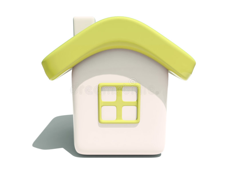 3d前房子简单的视图黄色 库存例证