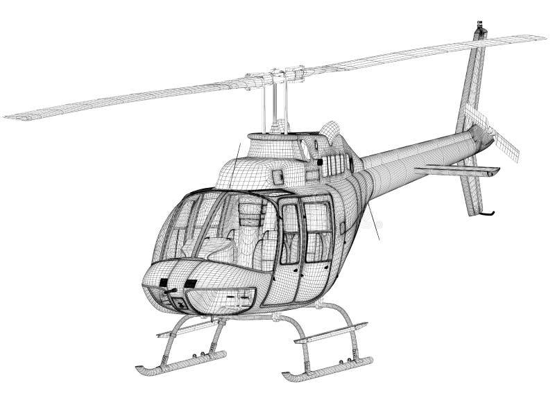 3d前直升机设计视图 皇族释放例证