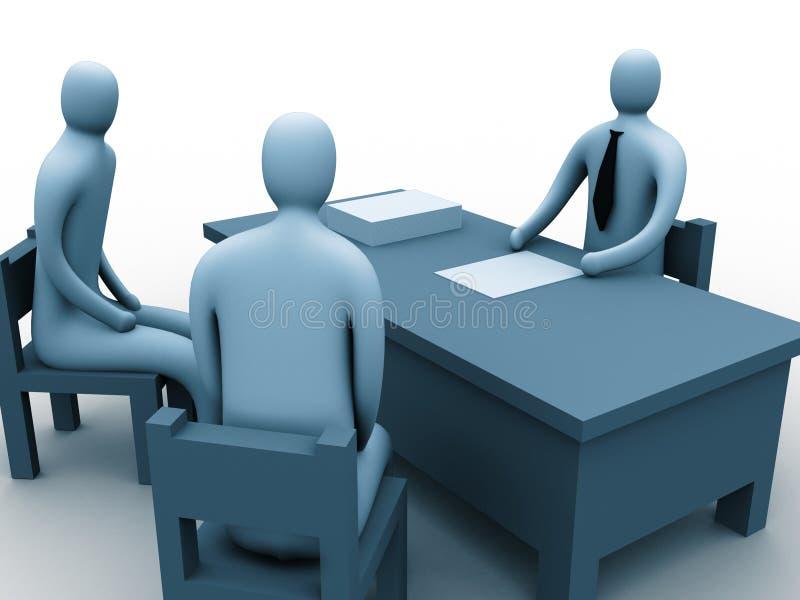 3d办公室人 向量例证
