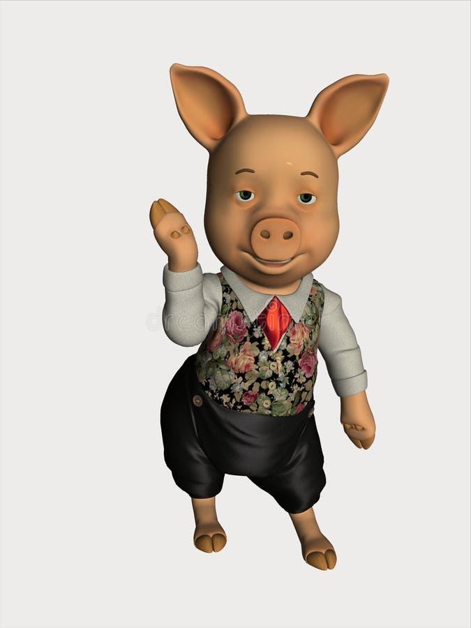 3d动画片猪回报 库存图片