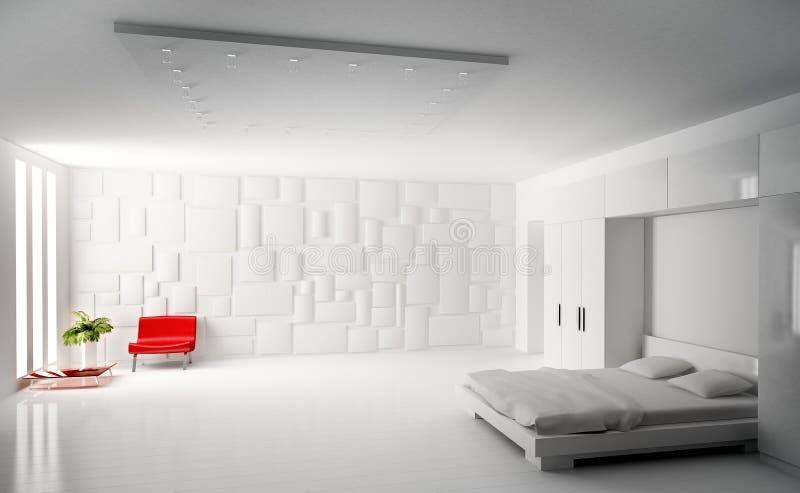 3d卧室内部现代回报 皇族释放例证