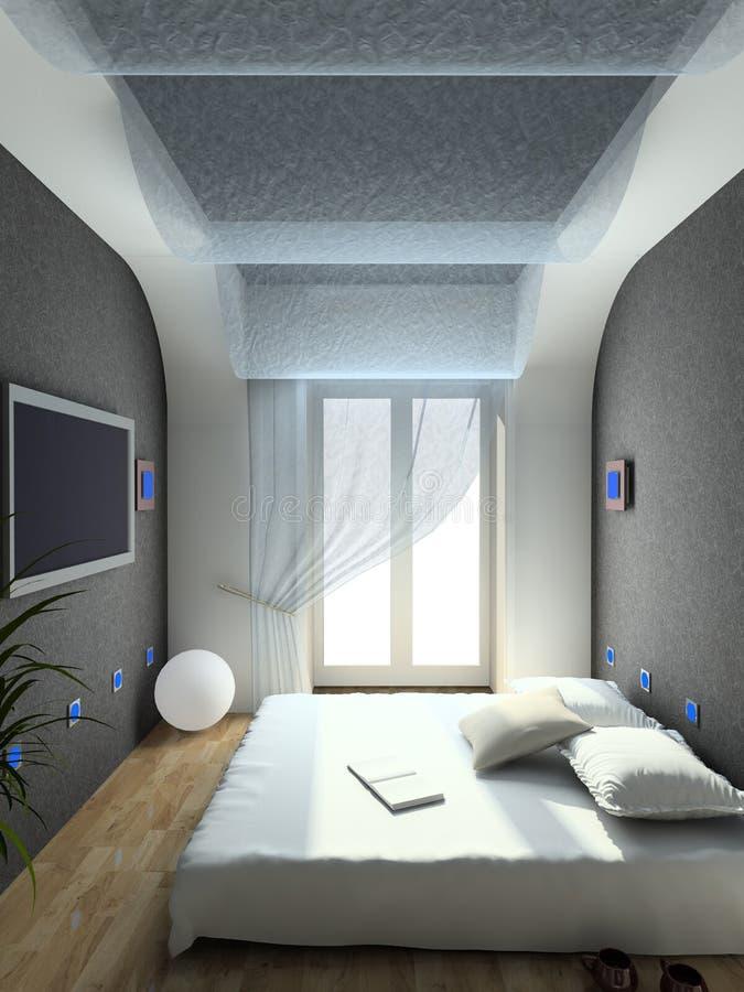 3d卧室内部现代回报 库存例证