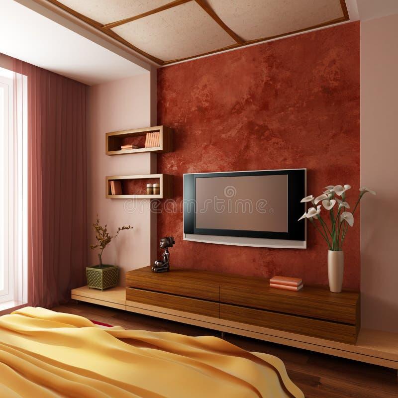 3d卧室内部现代样式 库存例证