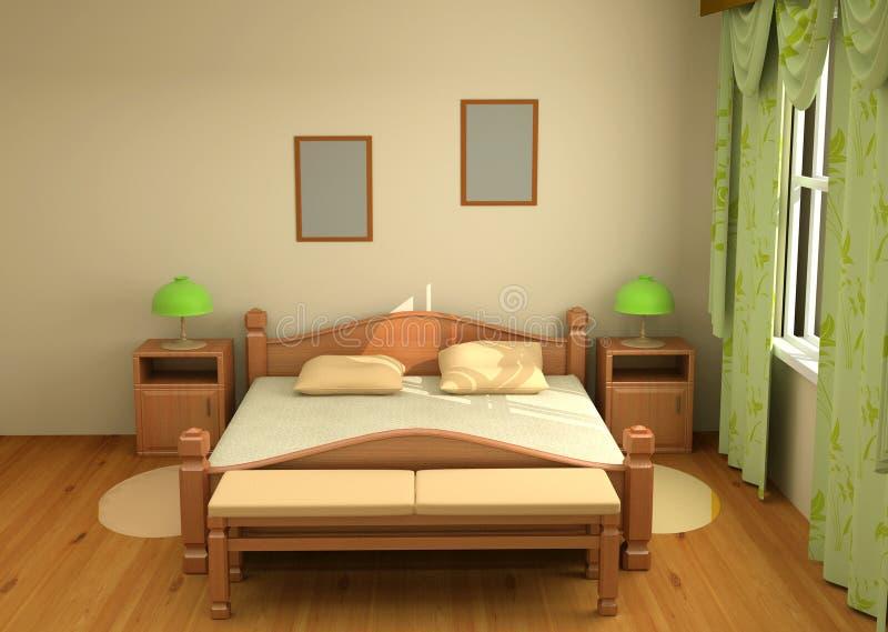3d卧室内部 皇族释放例证