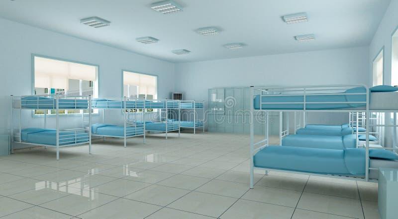 3d卧室宿舍旅舍空间青年时期 库存例证