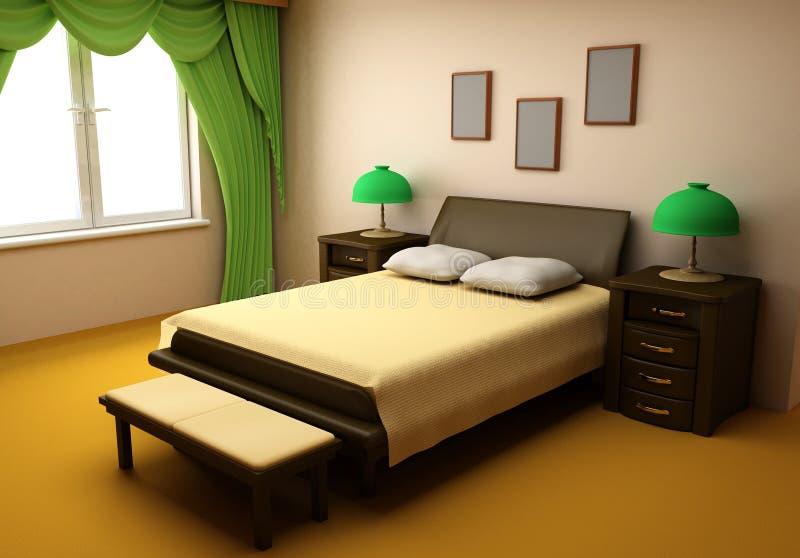 3d卧室舒适内部 皇族释放例证