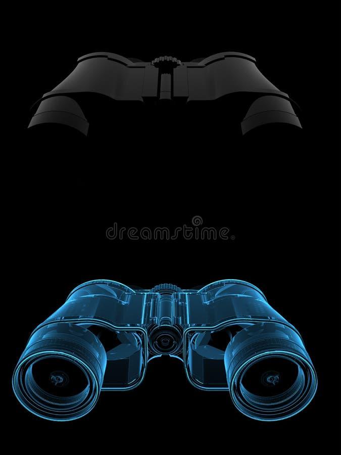 3d双筒望远镜蓝色透明X-射线 库存例证