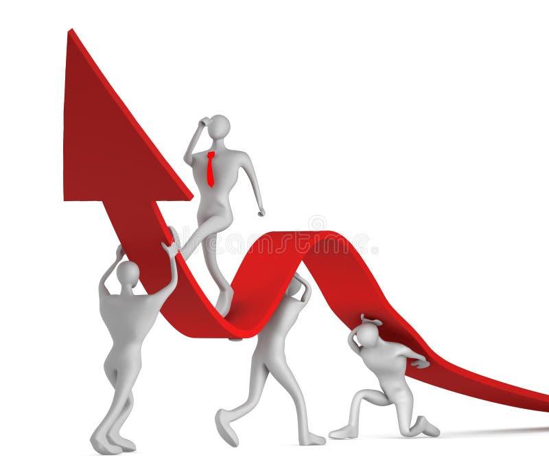3d启用增长的箭头人员 向量例证